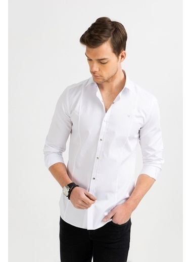 Avva Erkek  Düz Klasik Yaka Slim Gömlek B002217 Beyaz